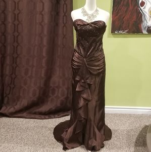 Formal Beaded Dress With Ruffles And A Train
